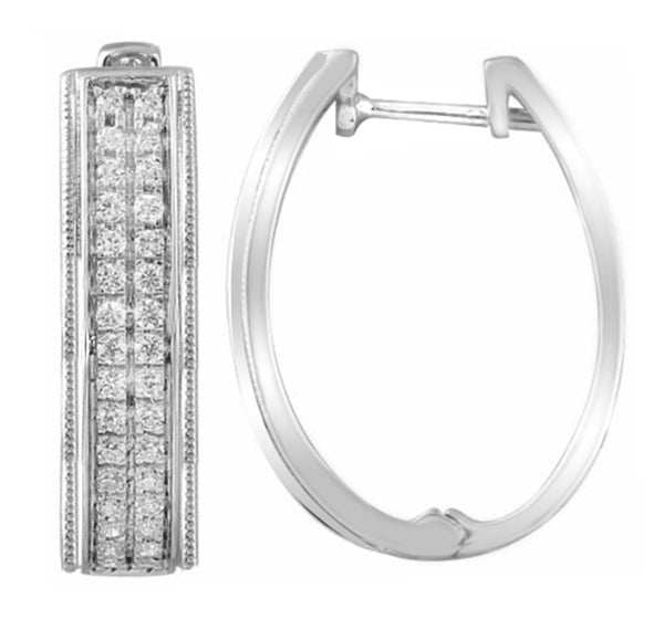 Huggie Earrings with 0.5ct Diamonds in 9K White Gold