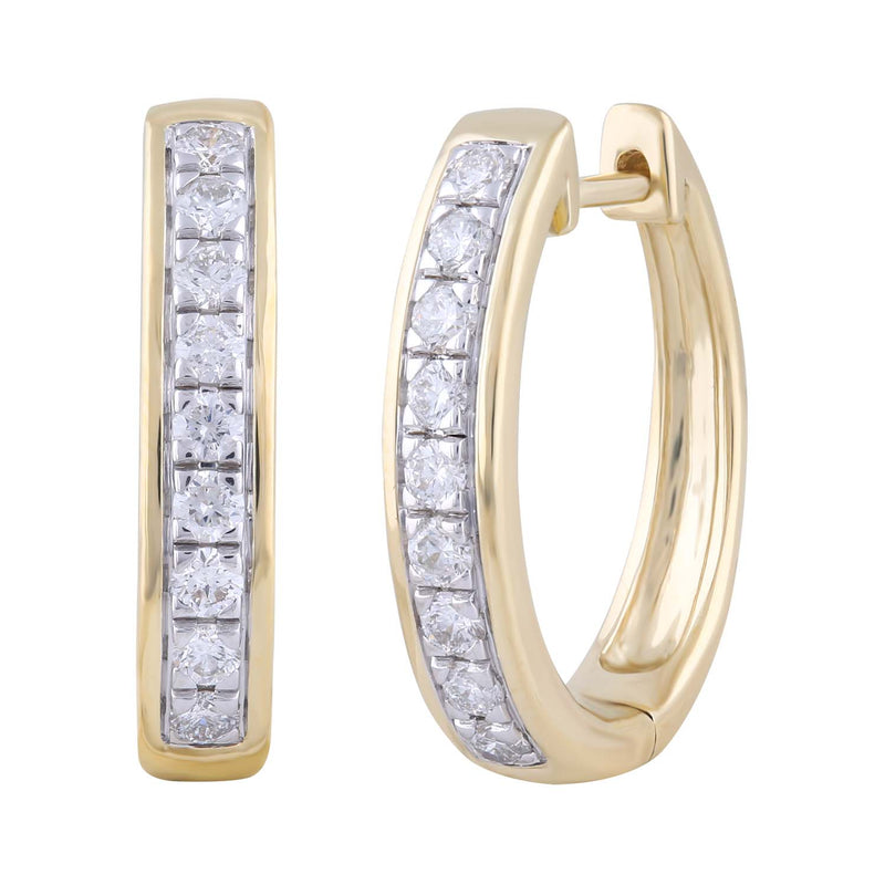 Huggie Earrings with 0.53ct Diamond in 9K Yellow Gold