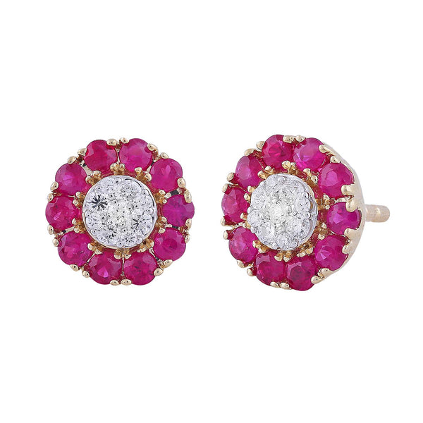 Ruby Earrings with 0.1ct Diamonds in 9K Yellow Gold