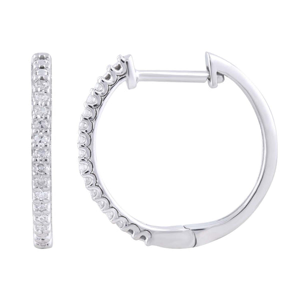 Hoop Earrings with 0.1ct Diamond in 9K White Gold