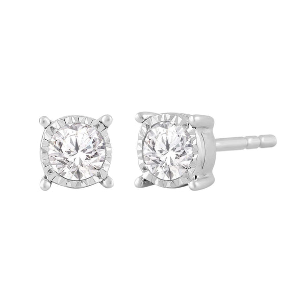 Stud Earrings with 0.33ct Diamond 9K White Gold