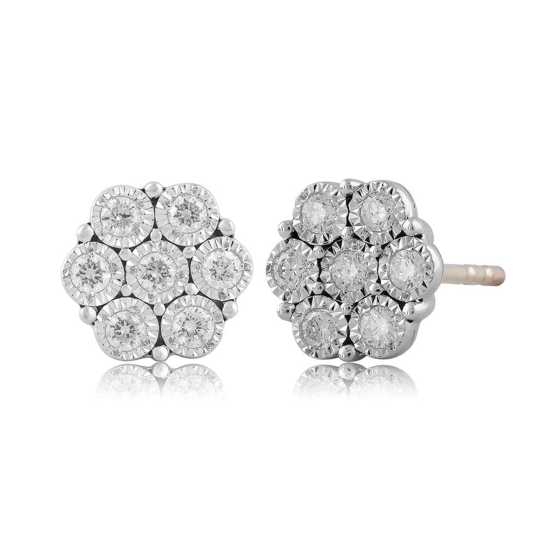 Cluster Earrings with 0.25ct Diamond in 9K Yellow Gold