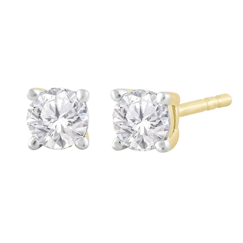 Stud Earrings with 0.5ct Diamond in 9K Yellow Gold 0.5Ct