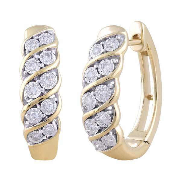 Huggie Earrings with 0.15ct Diamond in 9K Yellow Gold