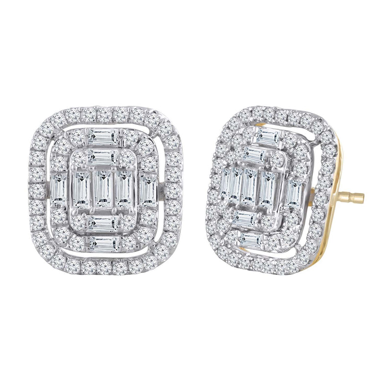 Cluster Stud Earrings with 1ct Diamond in 9K Yellow Gold