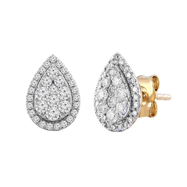 Pear Stud Earrings with 0.5ct Diamond in 9K Yellow Gold