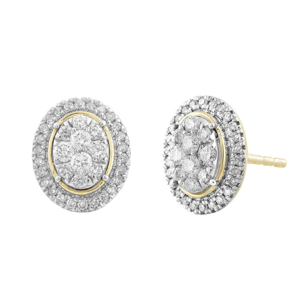 Oval Cluster Earrings with 0.5ct Diamond in 9K Yellow Gold