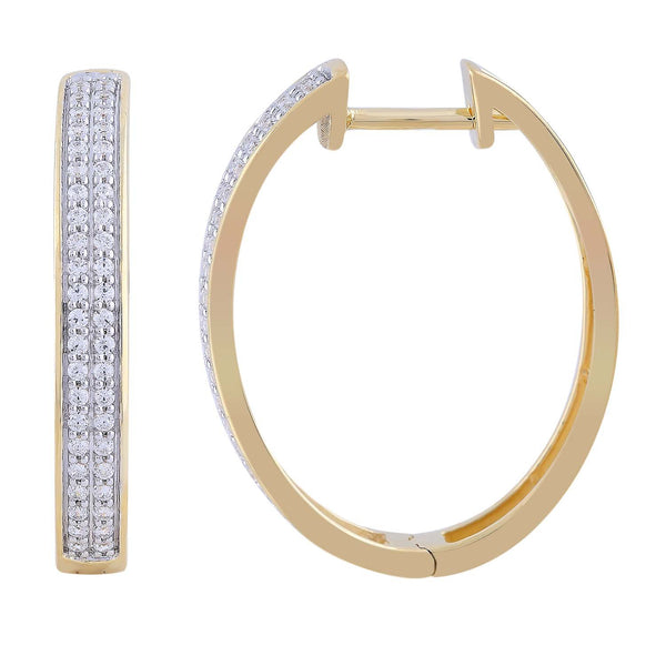 Huggie Earrings with 0.33ct Diamond in 9K Yellow Gold