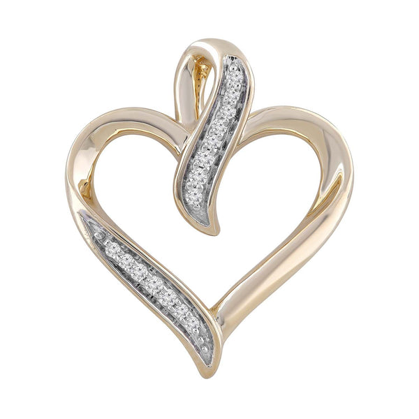 Heart Pendant with 0.06ct Diamond in 9K Yellow Gold