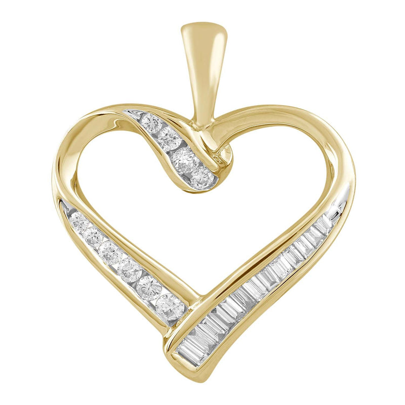 Heart Pendant with 0.47ct Diamond in 9K Yellow Gold