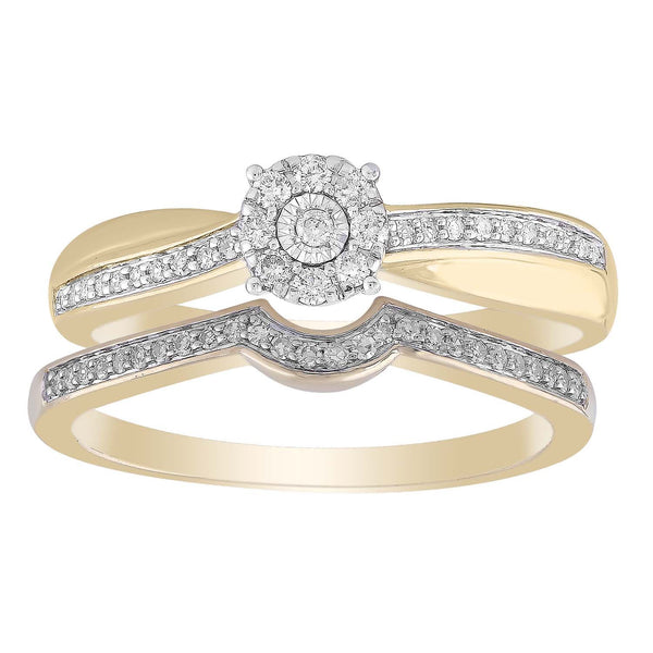 Ring Set with 0.25ct Diamond in 9K Yellow Gold