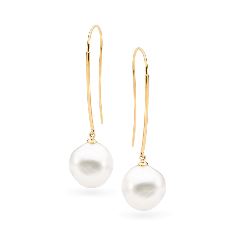 9Ct Yellow Gold Freshwater Pearl Long Hook Earrings