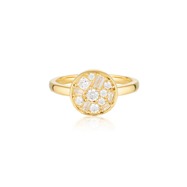 Georgini-Mosaic 18ct Gold Plated Sterling Silver Cubic Zirconia Ring