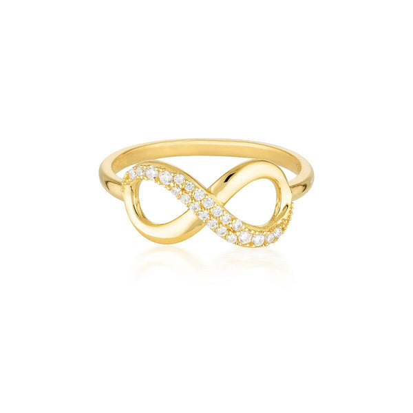 Georgini-Forever 18ct Gold Plated Sterling Silver Cubic Zirconia Infinity Ring