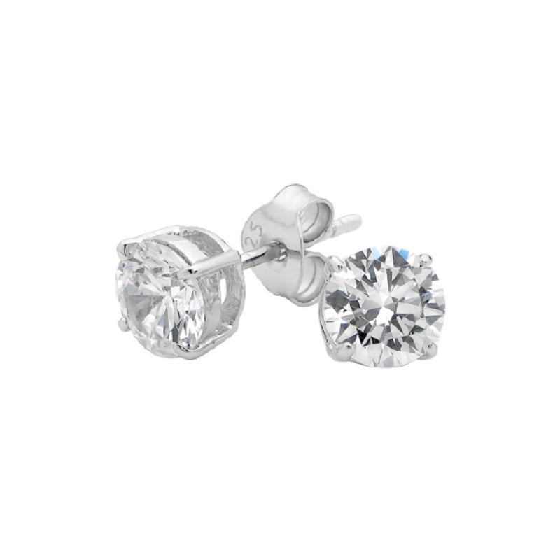 Georgini-Sterling Silver 6mm Cubic Zirconia Stud Earrings