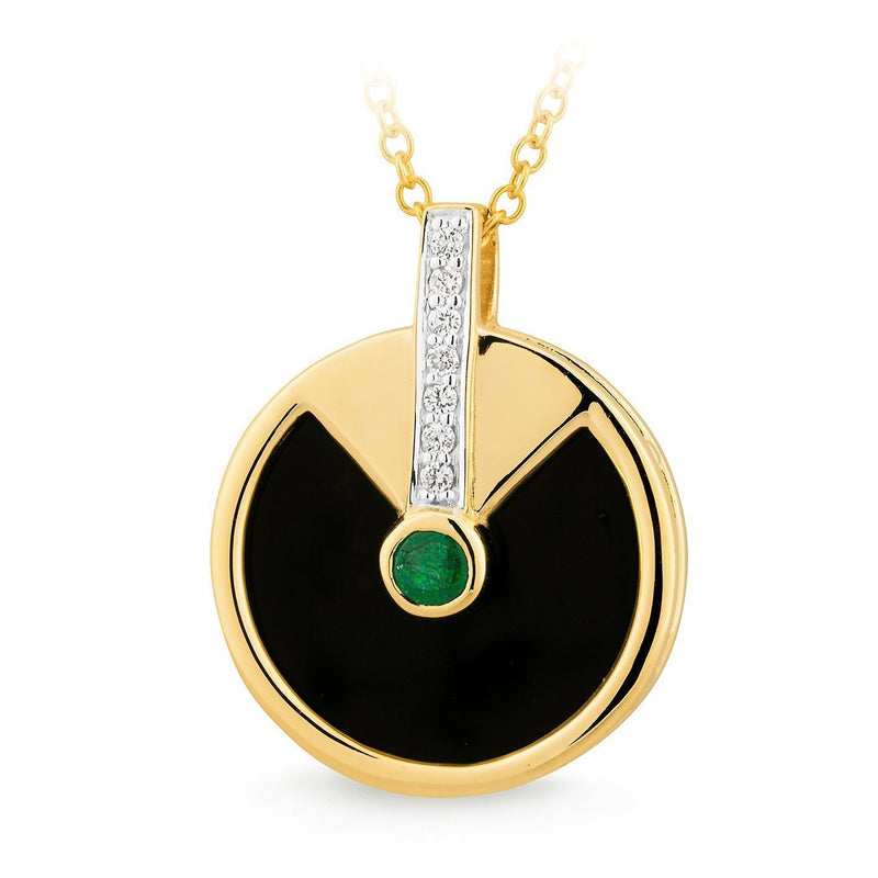 Onyx & Emerald & Diamond Bezel/Bead Set Pendant in 9ct Yellow Gold