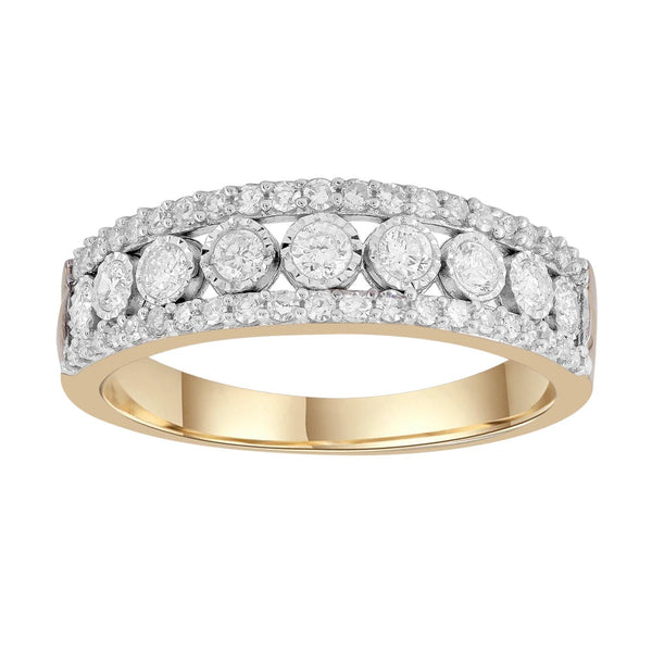 Ring with 0.5ct Diamonds in 9K Yellow Gold