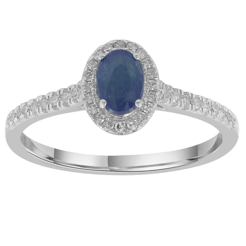Sapphire Ring with 0.15ct Diamonds in 9K White Gold
