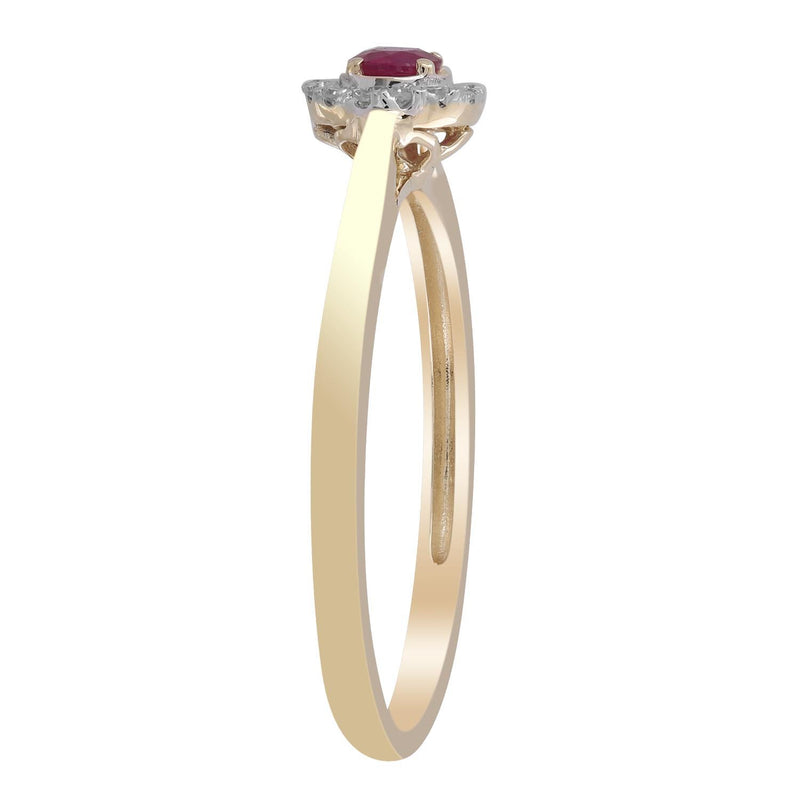 Ruby Ring with 0.05ct Diamonds in 9K Yellow Gold
