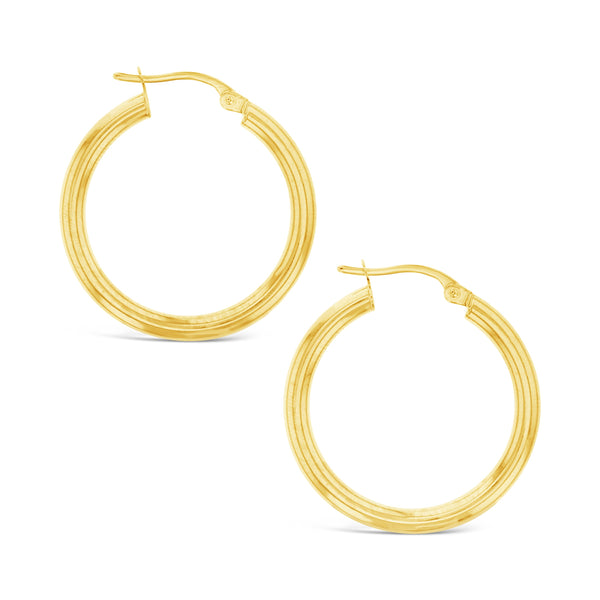 Plain 20mm Hoop Earrings in 9ct Gold