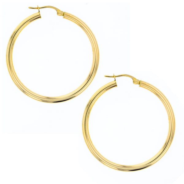 Plain 30mm Hoop Earrings in 9ct Gold
