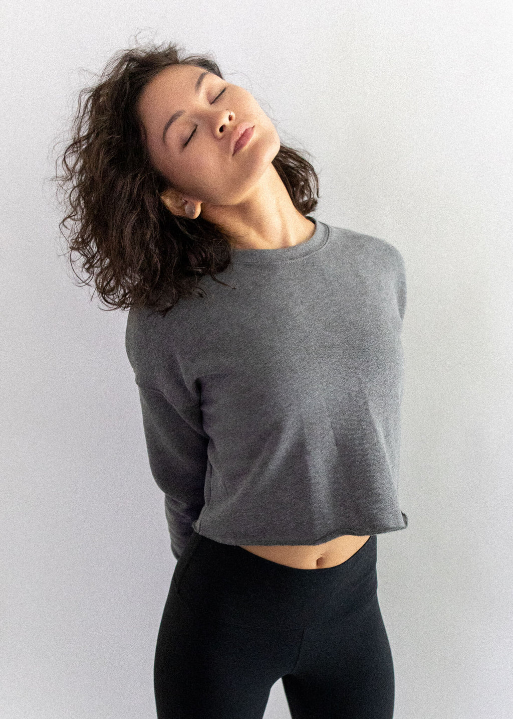 Heather Deep Crew Cropped Fleece