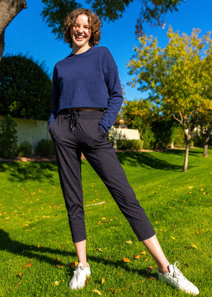 Navy Crew Cropped Fleece