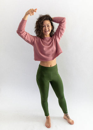 Mauve Crew Cropped Fleece