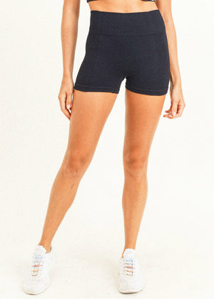 Ribbed & Smooth Combo Highwaist Skinny Short Shorts
