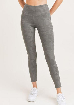Textured Camo Highwaist Leggings Grey