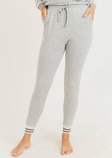Striped Cuff Melange Sweatpants
