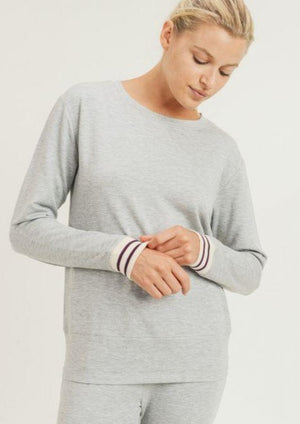 Striped Cuff Melange Sweater