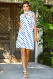 Women's Short Polka-Dot White Dress
