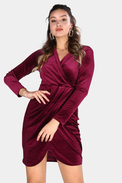 Women's Wrap Collar Claret Red Velvet Short Dress