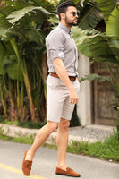 Men's Pocket Stone Color Shorts