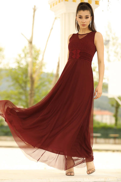Women's Tulle Claret Red Evening Dress