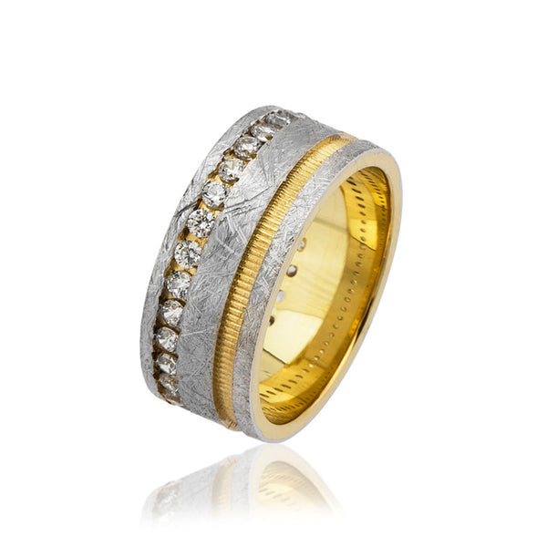Women's Zircon Gemmed Gold-Grey 925 Carat Silver Wedding Ring
