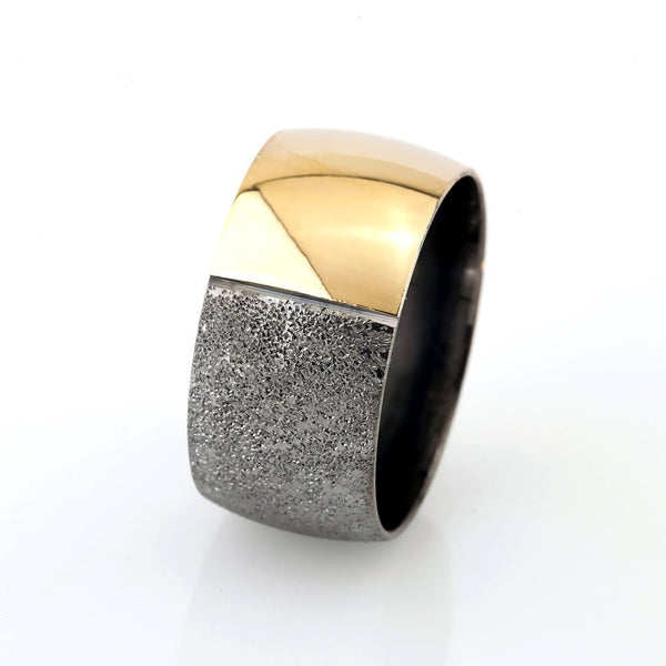 Women's Gold- Grey Color 925 Carat Silver Wedding Ring