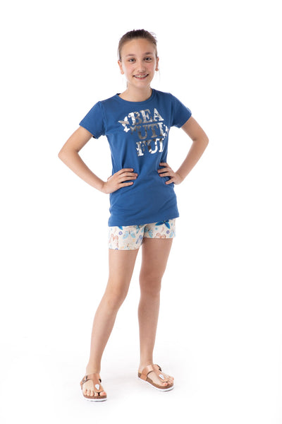Young Girl's Patterned Shorts Pajama Set