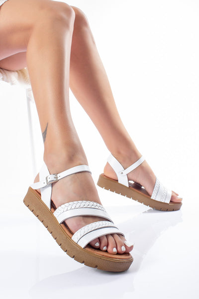 Women's White Leather Sandals