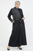 Women's Leather Detail Abaya
