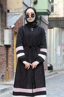 Women's Stripe Detail Black Full Coat