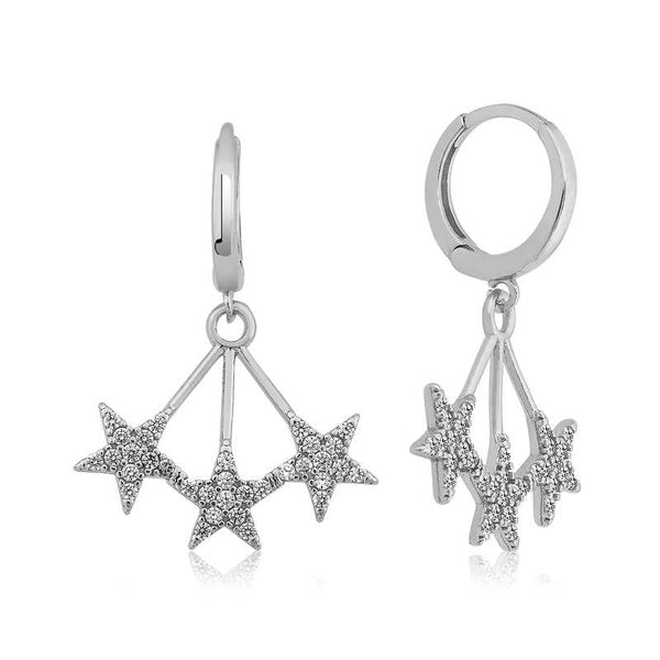 Women's Star Pendant Silver Earrings