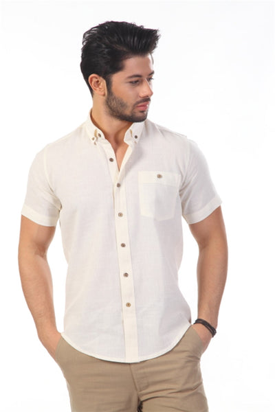 Men's Short Sleeves Cream Skinny Fit Shirt