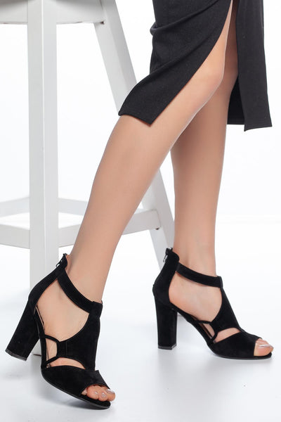 Women's Black Heeled Sandals