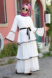 Women's Ruffle White Chiffon Dress