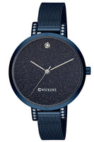 Women's Round Case Navy Blue Straw Metal Watch