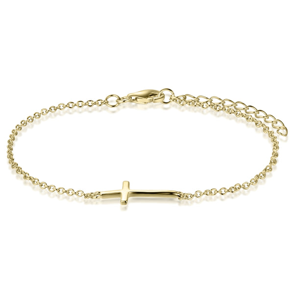 Sterling Silver Cross Bracelet Covered with 18-karat Yellow Gold