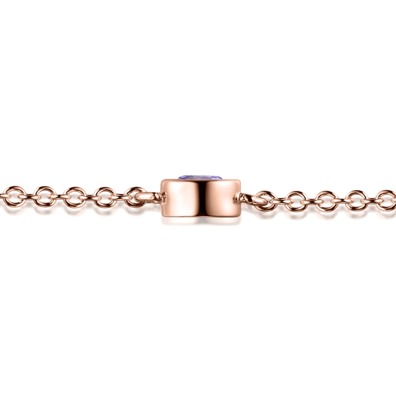 Sterling Silver Bracelet with Natural Pink Amethyst Covered with 18-karat Rose Gold