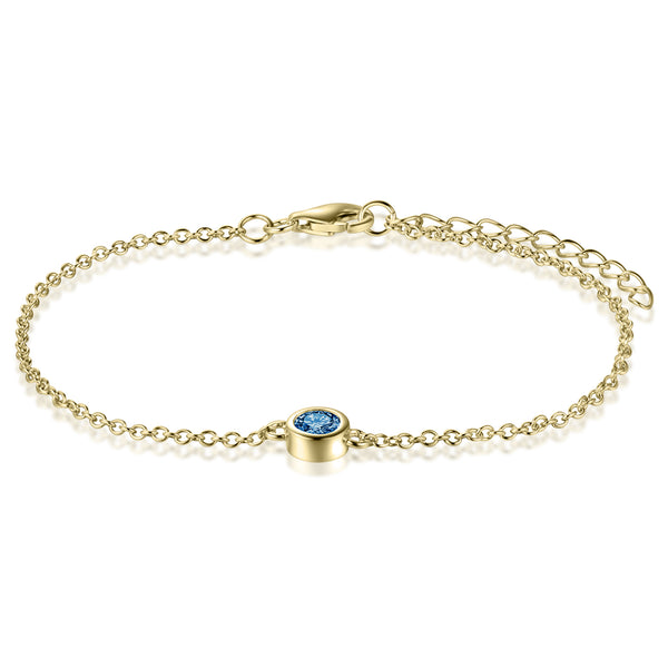 Sterling Silver Bracelet with London Blue Topaz Covered with 18-karat Yellow Gold